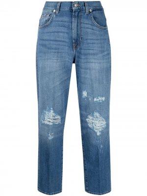 Укороченные джинсы с эффектом потертости 7 For All Mankind. Цвет: синий
