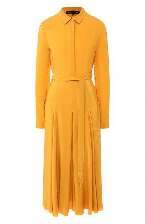 Шелковое платье Alexander Terekhov. Цвет: жёлтый