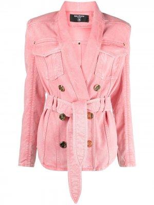 Двубортная джинсовая куртка с поясом Balmain. Цвет: розовый