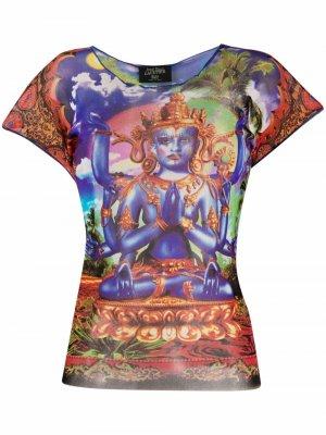 Shiva print semi-sheer T-shirt Jean Paul Gaultier Pre-Owned. Цвет: синий