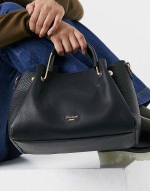 Черная сумка-тоут с комбинированным принтом под кожу рептилии Diana-Черный цвет Dune