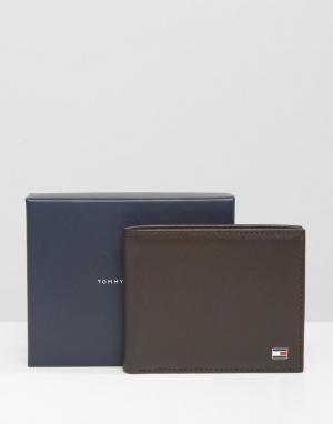 Коричневый кожаный бумажник небольшого размера Eton Tommy Hilfiger