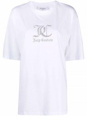 Декорированная футболка с логотипом Juicy Couture. Цвет: белый