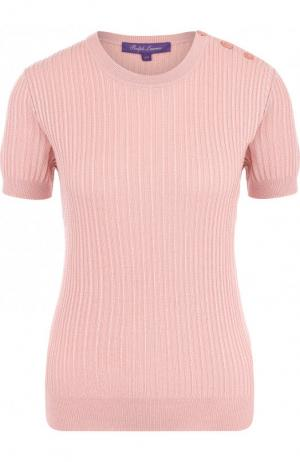 Пуловер из смеси шерсти и шелка с коротким рукавом Ralph Lauren. Цвет: розовый