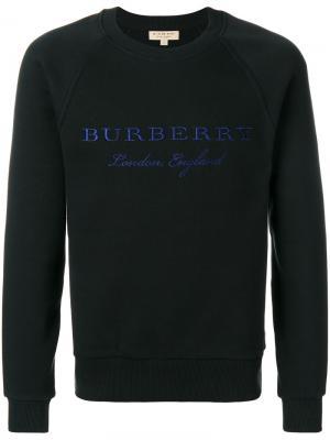 Толстовка с вышитым логотипом Burberry. Цвет: черный