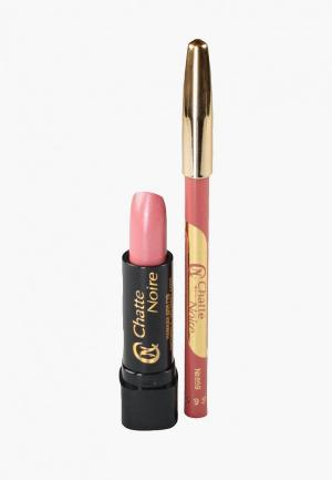 Набор для макияжа губ Chatte Noire Карандаш + Помада  №4, 5,75. Цвет: розовый