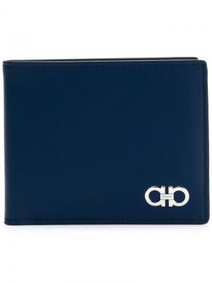 Классический бумажник Salvatore Ferragamo. Цвет: синий