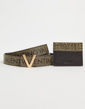 Подарочный набор из бумажника и ремня коричневого цвета Gambit-Коричневый цвет Valentino Bags