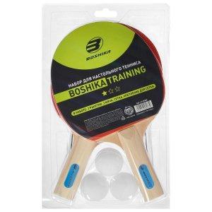 Набор для настольного тенниса boshika training (2 ракетки, 3 мяча, сетка, крепление)