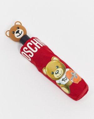 Подарочный зонт с медведем -Красный Moschino