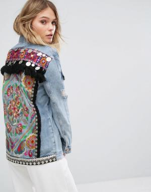 Джинсовая куртка с вышивкой на спине River Island. Цвет: синий