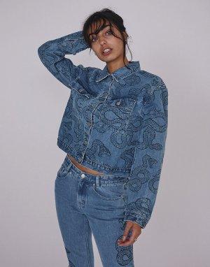 Oversized джинсовая куртка в винтажном стиле с принтом змеи -Голубой Milk It