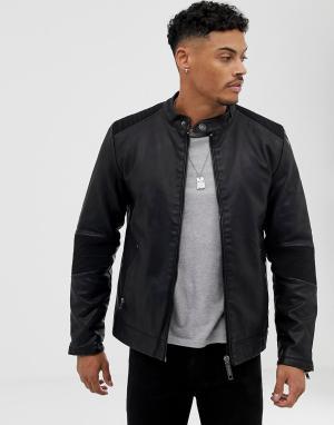 Черная куртка из искусственной кожи -Черный Blend