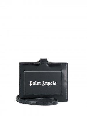 Картхолдер с логотипом и ремешком Palm Angels. Цвет: черный
