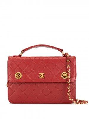 Стеганый портфель 1985-1993 с поворотным замком Chanel Pre-Owned. Цвет: красный