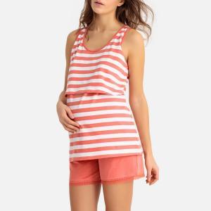 Пижама с шортами для периода беременности LA REDOUTE MATERNITÉ. Цвет: в полоску коралловый