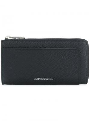 Бумажник на молнии Alexander McQueen. Цвет: черный