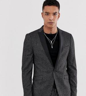Приталенный пиджак в полоску -Черный Heart & Dagger