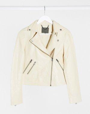 Классическая кожаная куртка кремового цвета -Белый Muubaa
