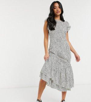 Повседневное платье с оборками в горошек Reese-Коричневый цвет Chi London Petite