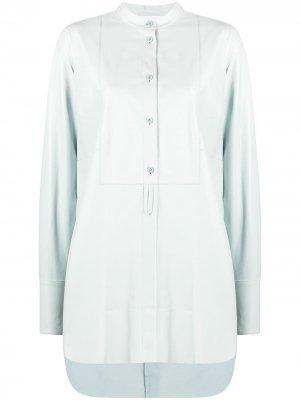 Рубашка без воротника с асимметричным подолом Drome. Цвет: синий