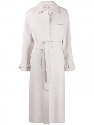 Однобортное пальто с поясом Alysi. Цвет: нейтральные цвета