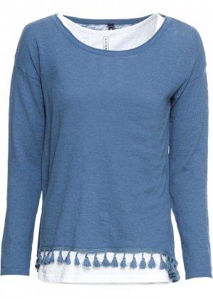 Пуловер с топом bonprix. Цвет: синий