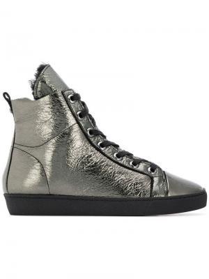 Ботинки с металлическим отблеском на шнуровке Hogl. Цвет: зеленый