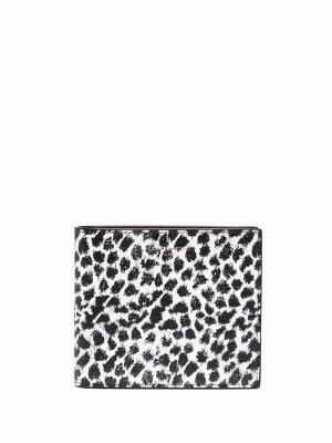 Кошелек с леопардовым принтом Saint Laurent. Цвет: белый
