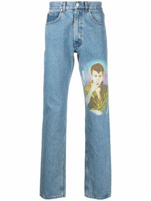 Прямые джинсы средней посадки Martine Rose. Цвет: синий
