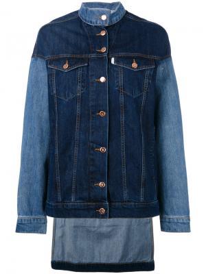 Джинсовая куртка с контрастной отделкой Aalto. Цвет: синий