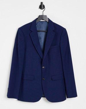 Темно-синий фактурный пиджак зауженного кроя Burton Menswear