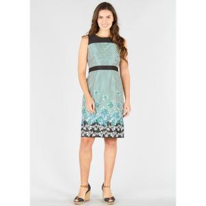 Платье прямое с рисунком в горошек и цветочным рисунком, без рукавов DERHY. Цвет: черный/зеленый рисунок