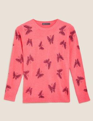 Джемпер с круглым вырезом и принтом бабочки M&S Collection. Цвет: розовый микс