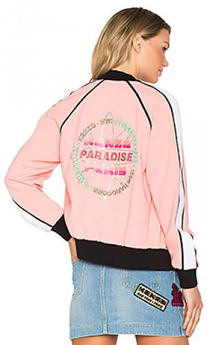 Атласная куртка-бомбер со вставкой из крепа сзади Kenzo. Цвет: розовый