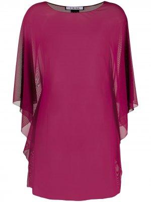 Прозрачная блузка с драпировкой Fisico. Цвет: красный