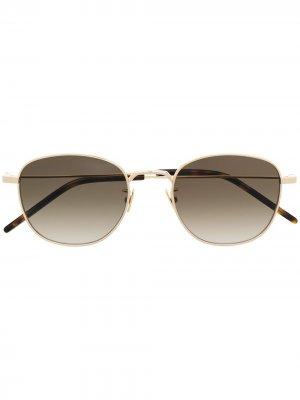 Солнцезащитные очки в круглой оправе Saint Laurent Eyewear. Цвет: золотистый