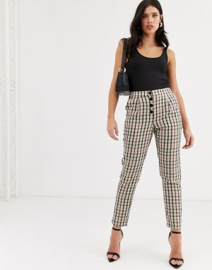 Зауженные брюки в клетку на пуговицах -Мульти Vero Moda