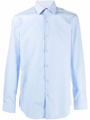 Рубашка с длинными рукавами HUGO. Цвет: синий
