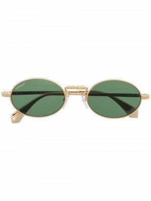 Солнцезащитные очки в овальной оправе Off-White. Цвет: зеленый