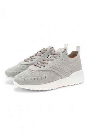 Замшевые кроссовки Tod's. Цвет: серый