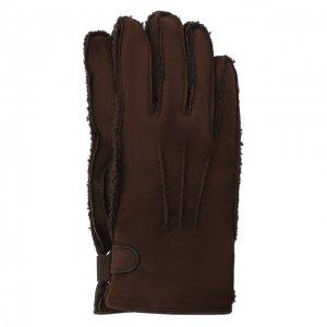 Замшевые перчатки Brioni. Цвет: коричневый