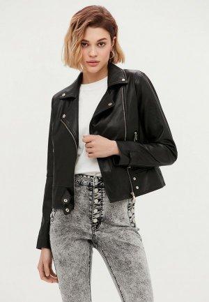 Куртка кожаная Love Republic. Цвет: черный