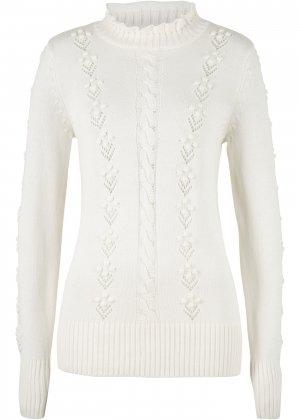 Пуловер структурной вязки bonprix. Цвет: белый