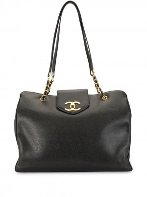 Сумка на плечо Jumbo Super Model 1997-го года Chanel Pre-Owned. Цвет: черный