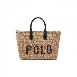 Сумка-тоут Polo Ralph Lauren. Цвет: бежевый