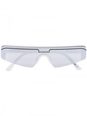 Солнцезащитные очки в прямоугольной оправе Balenciaga Eyewear. Цвет: белый