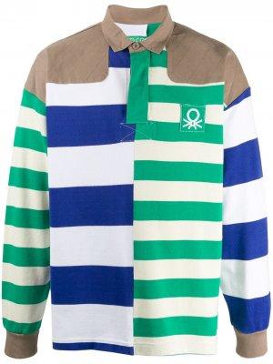 Рубашка-поло в полоску Benetton. Цвет: белый