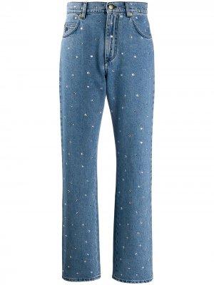 Декорированные джинсы Mom Philosophy Di Lorenzo Serafini. Цвет: синий