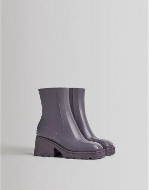 Сиреневые резиновые сапоги до щиколотки на каблуке с квадратным носком -Фиолетовый цвет Bershka